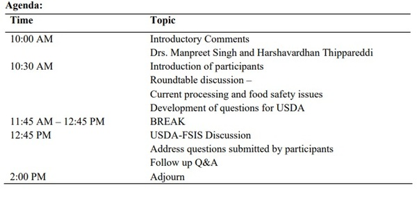 Virtual HACCP Roundtable for Poultry and Meat Processors - Image 1