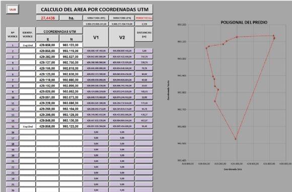 CALCULO DE AREA POR COORDENADAS UTM - Varias