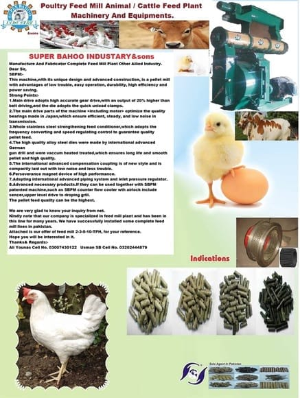 poultry feed mill 03007430122 - 03202444879 manufacturer and fabricator poultry feed animal cattle feed plant all kind of machinery and other allied industry.
