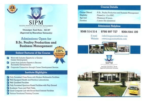 B.Sc Poultry production and business management brochure - Personales