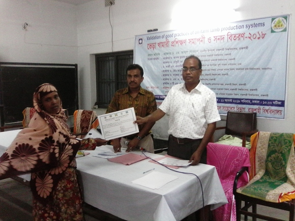 Certification of sheep farmer training program at RU Narikelbaria veterinary clinic,AI and Training center - Events