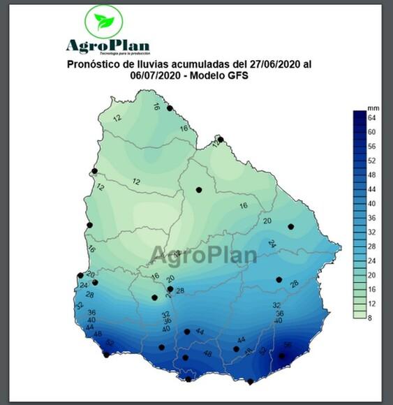 Uruguay: Pronóstico lluvias acumulados 27/6/2020 al 6/7/2020 - Varias